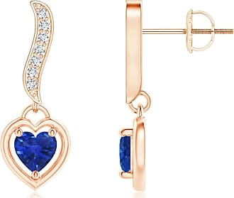 Angara Princess Blue Diamond Three Stone Journey Earrings(3.5mm) 7qbBixL