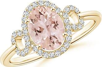 Angara Infinity Twist Oval Morganite Halo Engagement Ring with Diamonds 9lLo3