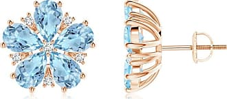 Angara Classic Pear Garnet Diamond Flowerhead Cluster Earrings Platinum 8UM3cG7w