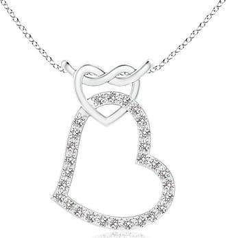 Angara Prong-Set Diamond Interlocking Twin Heart Pendant 5cf6qhsXs