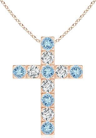 Angara Flat Prong-Set Aquamarine and Diamond Cross Pendant PvtaVm