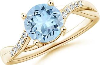 Angara Classic Solitaire Princess Enhanced Blue Diamond Ring(4.9mm) VPRED