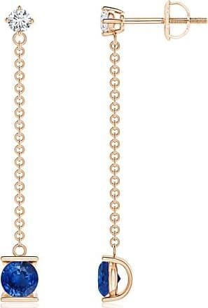 Angara Pink Sapphire and Diamond by the Yard Chain Drop Earrings X47fTuUAvb