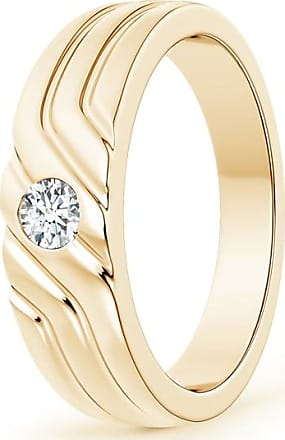 Angara Solitaire Diamond Geometric Wedding Band for Him QzT675