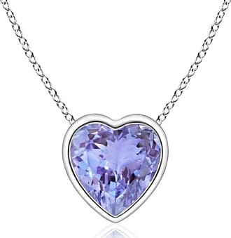 Angara Solitaire Heart Tanzanite Bezel-Set Pendant in Platinum XELr3