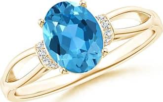 Angara Celtic Knot Shank Solitaire Princess Blue Diamond Ring(4.9mm) TYWhf