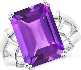 Angara Emerald-Cut Amethyst Ring in Rose Gold Nv7pL2sX