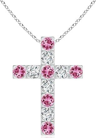 Angara Flat Prong-Set Pink Tourmaline and Diamond Cross Pendant in Rose Gold LaKOP9svx