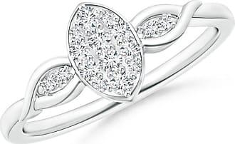 Angara Round Diamond Marquise Cluster Ring with Leaf-Motifs 3RTfAiH3K2