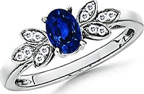 Angara Oval Sapphire Vintage Leaf Ring with 3 Diamond Studded in Yellow Gold 0m6YcM