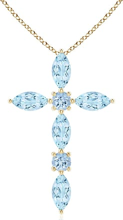 Angara Marquise Aquamarine Cross Pendant for Women in Yellow Gold evIGBJJe