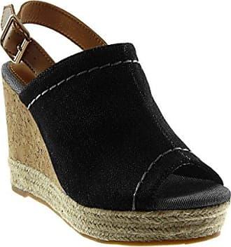 Angkorly Damen Schuhe Mule Sandalen - Peep-Toe - Plateauschuhe - knöchelriemen - Seil - Geflochten - Kork Keilabsatz High Heel 10.5 cm - Denim W20-7 T 41 msm8G