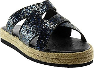Angkorly Damen Schuhe Mule Sandalen - Plateauschuhe - Slip-On - Gekreuzte Riemen - Glitzer - Seil Keilabsatz High Heel 2.5 cm - Blau YS-26 T 39 m4ocfr