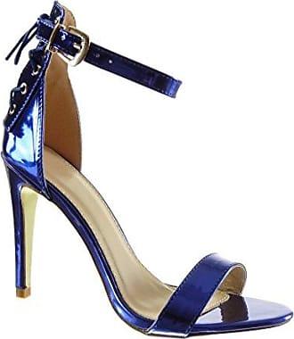 Angkorly Damen Schuhe Pumpe Sandalen - T-Spange - Stiletto - Peep-Toe - glänzende - Spitze Stiletto High Heel 8.5 cm - Weiß W60 T 40 Yn4oL