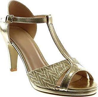 Angkorly Damen Schuhe Pumpe Sandalen - T-Spange - Stiletto - Peep-Toe - glänzende - Spitze Stiletto High Heel 8.5 cm - Weiß W60 T 37 9zywq