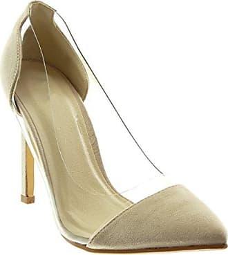 Angkorly Damen Schuhe Pumpe - Slip-on - Dekollete - Stiletto - Transparent Stiletto High Heel 10.5 cm - Beige JM-80 T 38 oF3Zc