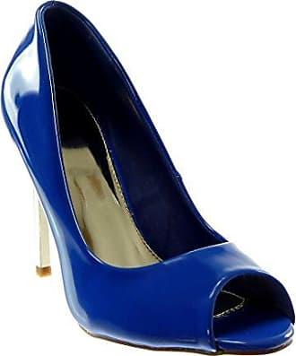 Angkorly Damen Schuhe Pumpe - Slip-On - Peep-Toe - Dekollete - Patent Stiletto High Heel 10.5 cm - elektrisches Blau 628-113 T 39 y5nSL