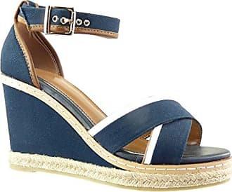 Angkorly Damen Schuhe Sandalen Espadrilles - Bi-Material - Plateauschuhe - Fertig Steppnähte Keilabsatz High Heel 10 cm - Blau C-256 T 38 7jkDPT