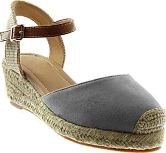 Angkorly Damen Schuhe Sandalen Espadrilles - BI-Material - Plateauschuhe - Fertig Steppnähte Keilabsatz High Heel 10 cm - Marineblauen C-256 T 40 4OMOd5