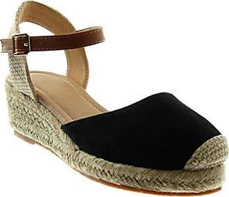 Angkorly Damen Schuhe Sandalen Espadrilles - Bi-Material - Plateauschuhe - Fertig Steppnähte Keilabsatz High Heel 10 cm - Marineblauen C-256 T 36 3XND2l