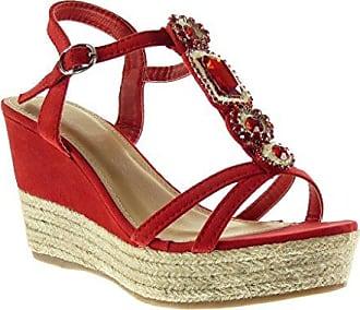 Angkorly Damen Schuhe Sandalen - Sneaker Sohle - Plateauschuhe - Glänzende - Seil Keilabsatz High Heel 7.5 cm - Gold BL208 T 36 uJJ4TM