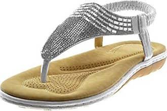 Angkorly Damen Schuhe Sandalen Flip-Flops - T-Spange - String Tanga - Geflochten - Strass Flache Ferse 2 cm - Weiß PN1555 T 37 GzVGnh