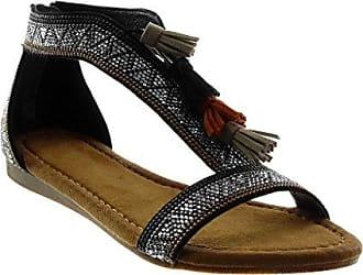 Damen Schuhe Sandalen - Folk - T-Spange - Strass - Bommel - Fransen Keilabsatz 1.5 cm - Schwarz A3-3 T 39 Angkorly wrnfA4JT1A