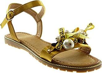 Angkorly Damen Schuhe Sandalen - Knöchelriemen - Römersandalen - Schmuck - Blumen - Bestickt Flache Ferse 1.5 cm - Gelb WD1756 T 37 iSoKi