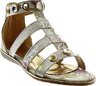 Angkorly Damen Schuhe Sandalen - Knöchelriemen - Römersandalen - Schmuck - Blumen - Bestickt Flache Ferse 1.5 cm - Grüne WD1756 T 38 yDzp1CVme