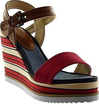 Angkorly Damen Schuhe Sandalen Mule - T-Spange - Plateauschuhe - Blumen Keilabsatz High Heel 13.5 cm - Beige YS-27 T 39 jSVDU