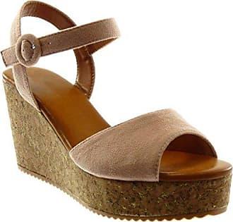 Angkorly - damen Schuhe Sandalen Mule - Schmuck - Multi-Zaum - String Tanga Keilabsatz 4 CM - Rosa YS434 T 39 YN5re