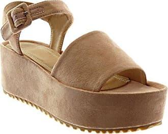 Angkorly Damen Schuhe Sandalen Mule - Knöchelriemen - Plateauschuhe - String Tanga - Kork - Schleife Keilabsatz High Heel 8.5 cm - Lila YS465 T 38 WCAZW1euO