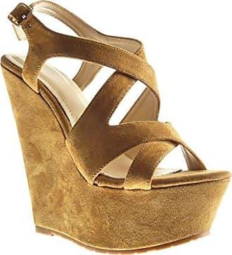 Angkorly Damen Schuhe Sandalen Mule - Plateauschuhe - Sneaker Sohle - String Tanga - Geflochten - Strass Keilabsatz High Heel 7 cm - Camel FD26 T 40 ZxTyOZVQCu