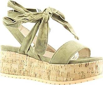 damen Schuhe Sandalen Mule - Plateauschuhe - String Tanga - Knoten - Kork Keilabsatz high heel 6.5 CM - Grüne PN1565 T 41 Angkorly WrIV3N4