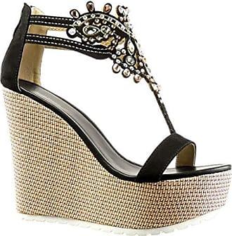 Angkorly Damen Schuhe Sandalen - T-Spange - Strass - Geflochten - Fantasy Keilabsatz High Heel 4.5 cm - Champagner WH872 T 38 F6qqyk