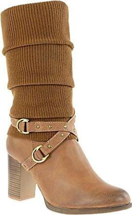 Angkorly - damen Schuhe Stiefel - Reitstiefel - Kavalier - Biker - String Tanga - Geflochten - Fransen Blockabsatz 3 CM - Grau TH13-3 T 40 TWoydN5tB