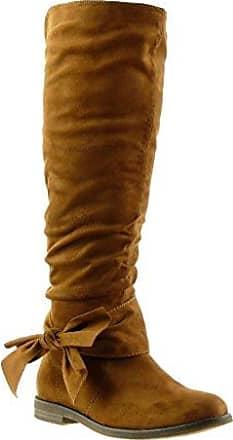 Angkorly - damen Schuhe Stiefel - Reitstiefel - Kavalier - Flexible - Knoten Blockabsatz 2 CM - Camel F2163 T 40 vwbZnw
