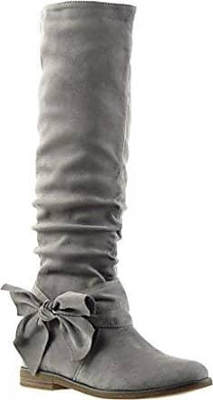 Angkorly - damen Schuhe Stiefel - Reitstiefel - Kavalier - Flexible - Knoten Blockabsatz 2 CM - Schwarz F2163 T 41 pznV4