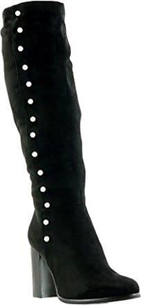 Angkorly - damen Schuhe Stiefel - Reitstiefel - Kavalier - Flexible - Knoten Blockabsatz 2 CM - Schwarz F2163 T 41 e2c6Z8e0tE