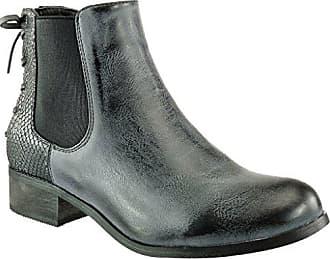 Angkorly Damen Schuhe Stiefeletten - Chelsea Boots - Reitstiefel Kavalier - Vintage-Stil - Schlangenhaut - Knoten - Spitze Blockabsatz 3 cm - Schwarz 2 F912 T 39 zqo9Sj