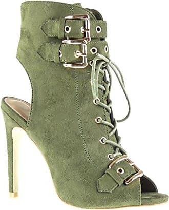 Angkorly Damen Schuhe Sandalen Stiefeletten - Stiletto - Sexy - Offen - Spitze - Fransen - Bommel Stiletto High Heel 10.5 cm - Grüne 238-9 T 40 GloOuM