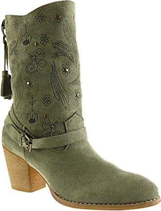 Angkorly Damen Schuhe Stiefel - Reitstiefel - Kavalier - Flexible - Strass - Reißverschluss Blockabsatz High Heel 7.5 cm - Khaki B7555 T 38 DMOQ84m5E7