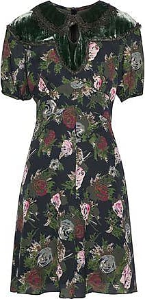 Anna Sui Woman Velvet-trimmed Ruffled Floral-print Silk-chiffon Mini Dress Black Size 6 Anna Sui All Size ZP78I