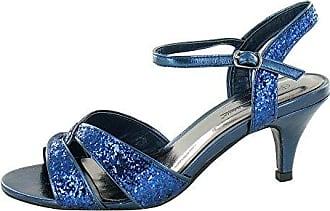Damen Glitzer-Sandale mit Absatz (39 EU) (Silber) Anne Michelle Got06