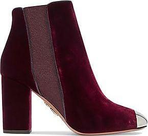 Aquazzura Woman Nova Embellished Velvet Ankle Boots Claret Size 38 y839JfMrW