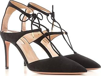 Rendez-vous Sandale Chaussures Plates En Daim Noir Et Or Et Specchio Aquazzura ZPCmDji
