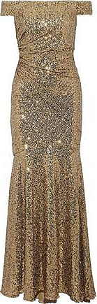 Badgley Mischka Woman Off-the-shoulder Ruched Sequined Mesh Gown Gold Size 12 Badgley Mischka yhvT0I8