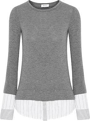 Bailey 44 Woman Poplin-paneled Knitted Top Anthracite Size L Bailey 44 Discount Outlet Store Store Many Kinds Of Cheap Choice View Cheap Price YdLr1f
