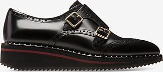 Daskine Black, Womens brushed bull leather monk shoes in black Bally
