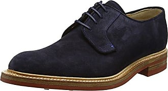 Barker Valiant, Zapatos de Cordones Oxford para Hombre, Blue (Ebony Calf/Navy Grain), 41 EU